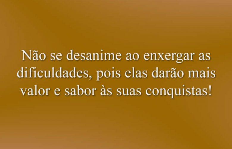 Não se desanime ao enxergar as dificuldades, pois elas darão mais valor e sabor às suas conquistas!