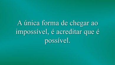 A única forma de chegar ao impossível, é acreditar que é possível.