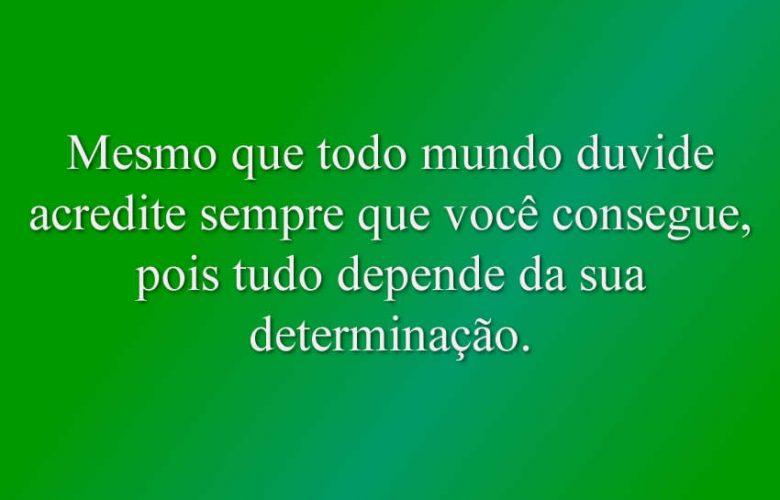 Mesmo que todo mundo duvide acredite sempre que você consegue, pois tudo depende da sua determinação.