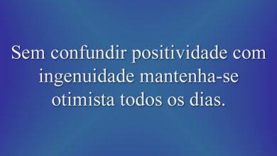 Sem confundir positividade com ingenuidade mantenha-se otimista todos os dias.