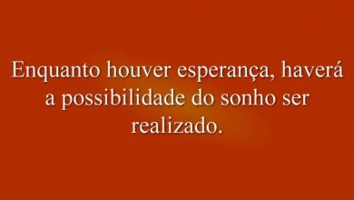 Enquanto houver esperança, haverá a possibilidade do sonho ser realizado.