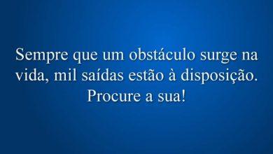 Sempre que um obstáculo surge na vida, mil saídas estão à disposição. Procure a sua!