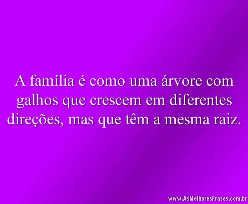 A família é como uma árvore com galhos que crescem em diferentes direções, mas que têm a mesma raiz.