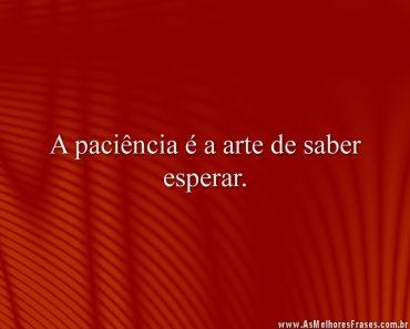 A paciência é a arte de saber esperar.