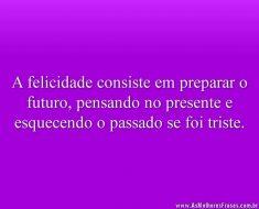 A felicidade consiste em preparar o futuro, pensando no presente e esquecendo o passado se foi triste.