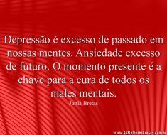 Depressão é excesso de passado em nossas mentes. Ansiedade excesso de futuro. O momento presente é a chave para a cura de todos os males mentais.
